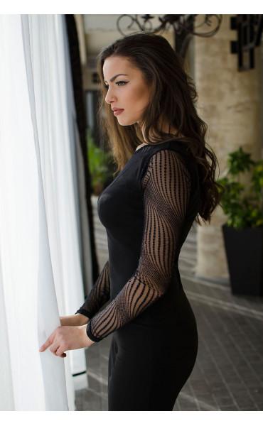 Официална черна рокля с фина мрежа_16466