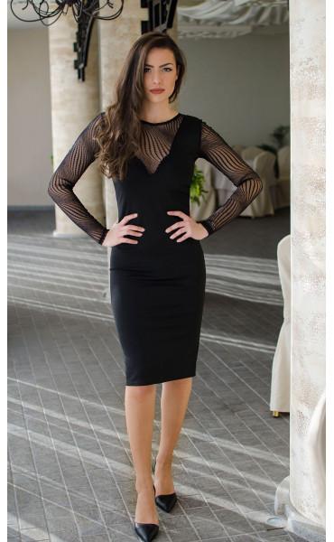 Официална черна рокля с фина мрежа_16467