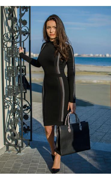Елегантна рокля с ивици_16475