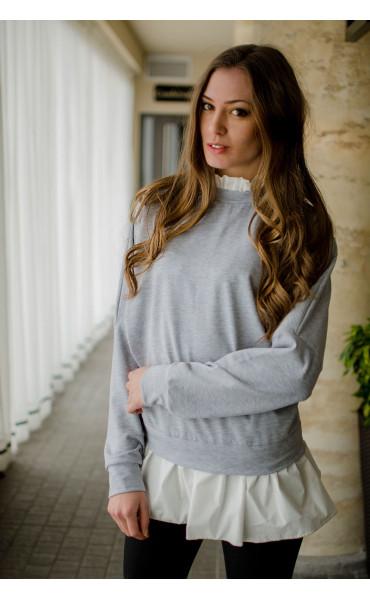 Блуза с къдри и цип