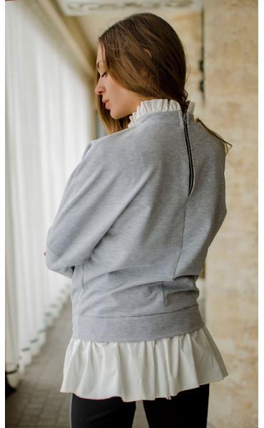 Блуза с къдри и цип_16485
