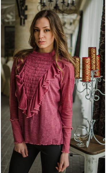 Ефирна блузка с набор и жабо_16492