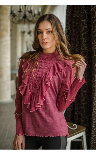 Ефирна блузка с набор и жабо_16493