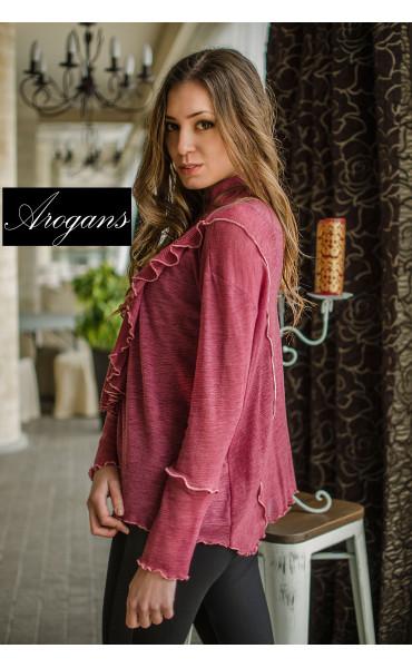 Ефирна блузка с набор и жабо_16494