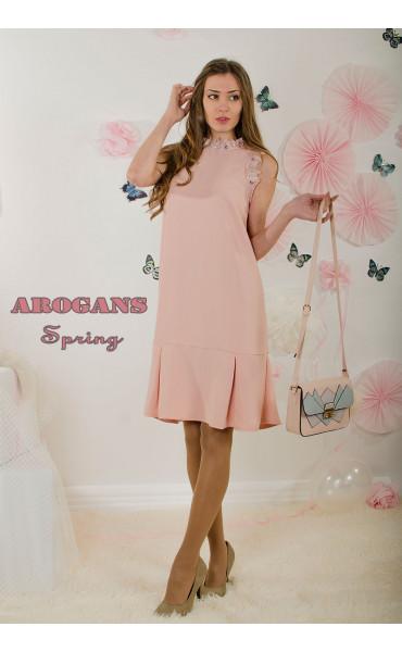 Елегантна свободна рокля с дантела_16508