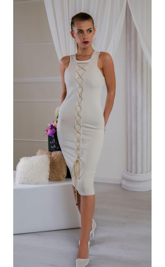 Елегантна рокля в нежно бежово Sea breeze