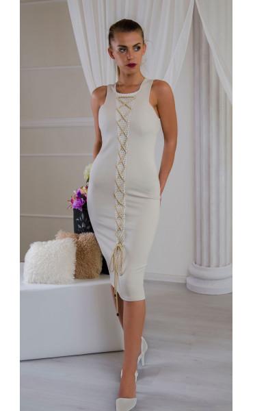 Елегантна рокля в нежно бежово Sea breeze_16544