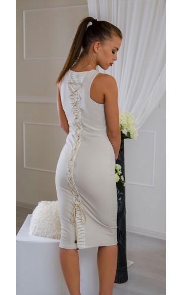 Елегантна рокля в нежно бежово Sea breeze_16545