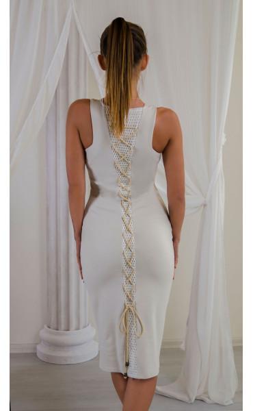 Елегантна рокля в нежно бежово Sea breeze_16546