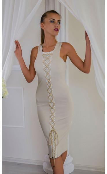 Елегантна рокля в нежно бежово Sea breeze_16547