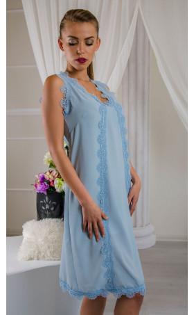 Лятна нежна мини рокля в бледо син нюанс