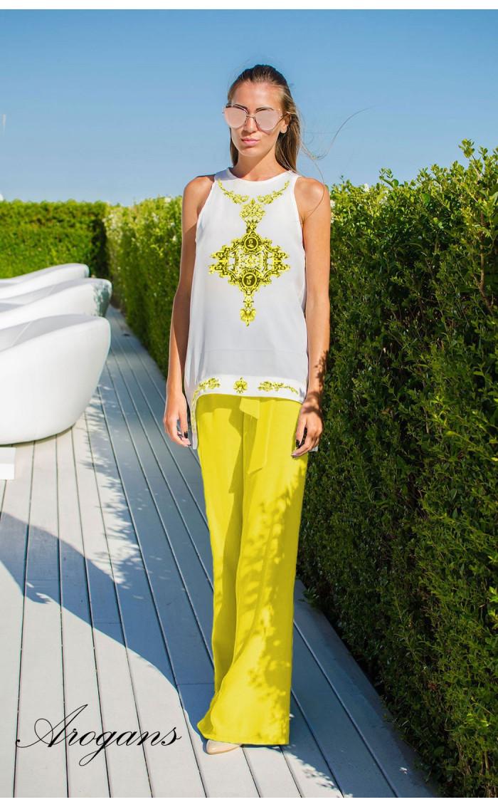 Летен свободен панталон в наситено жълто GOLD PORCELAIN