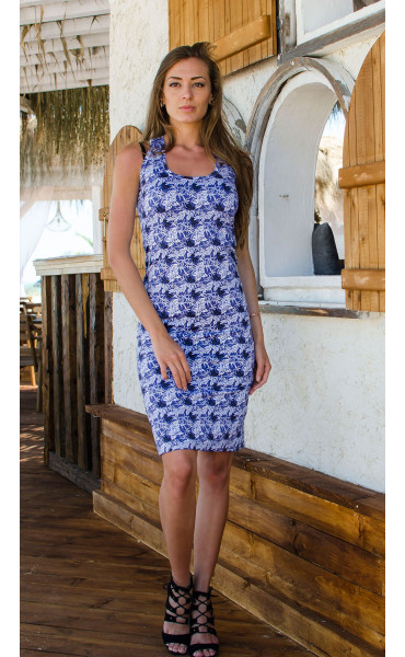 Спортно елегантна рокля Blue flowers_16663