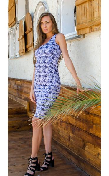 Спортно елегантна рокля Blue flowers_16665