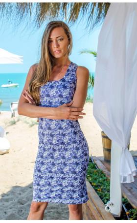 Спортно елегантна рокля Blue flowers