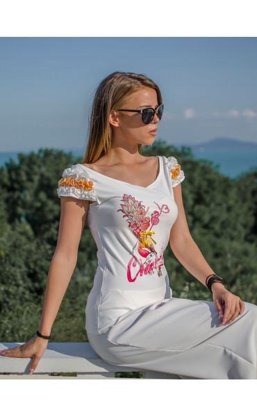 Блузка с къдри Flamingo_16752