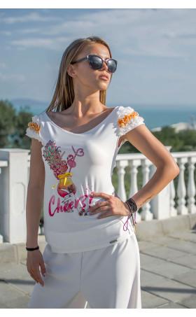 Блузка с къдри Flamingo