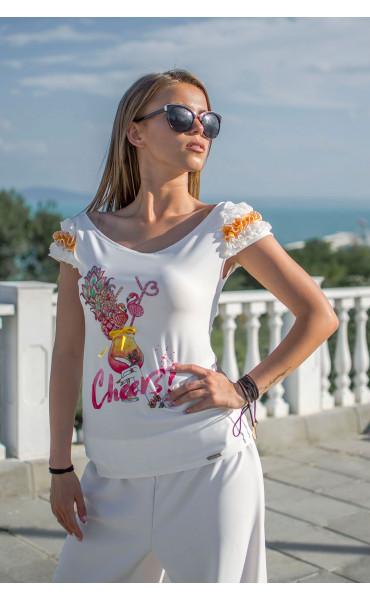 Блузка с къдри Flamingo_16754