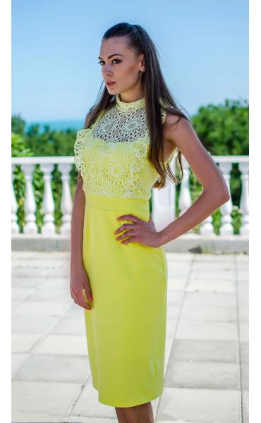 Елегантна рокля в наситен жълт цвят Sunshine_16816