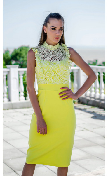 Елегантна лятна рокля с дантела в наситен жълт цвят Sunshine