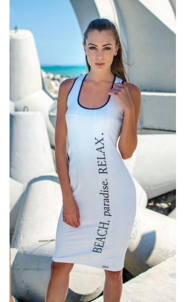 Бяла ежедневна секси рокля Beach Paradise RELAX