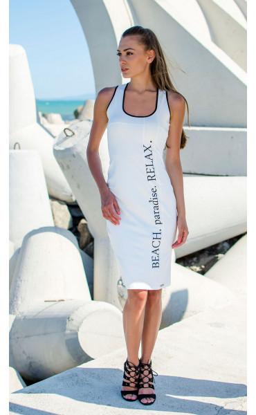 Бяла ежедневна секси рокля Beach Paradise RELAX_16828
