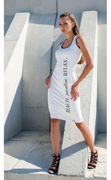 Бяла ежедневна секси рокля Beach Paradise RELAX_16829