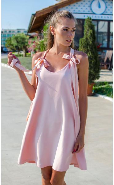 Розова рокля с гол гръб и дантела Lolipop_16847
