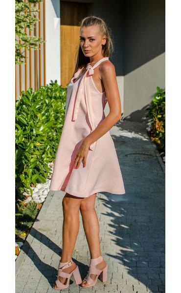 Розова рокля с гол гръб и дантела Lolipop_16879