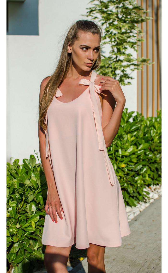 Розова рокля с гол гръб и дантела Lolipop