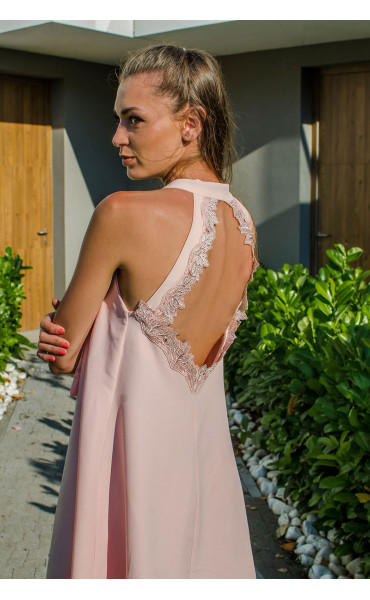 Розова рокля с гол гръб и дантела Lolipop_16886