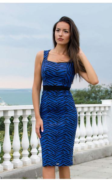 Елегантна  делова рокля в синьо и черно