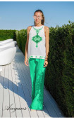 Летен свободен панталон в зелено GREEN PORCELAIN