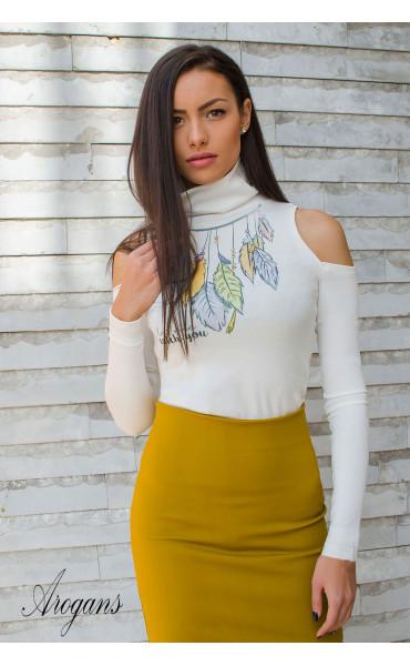 Модерна бяла блуза с акцентен принт Dream catcher_16938