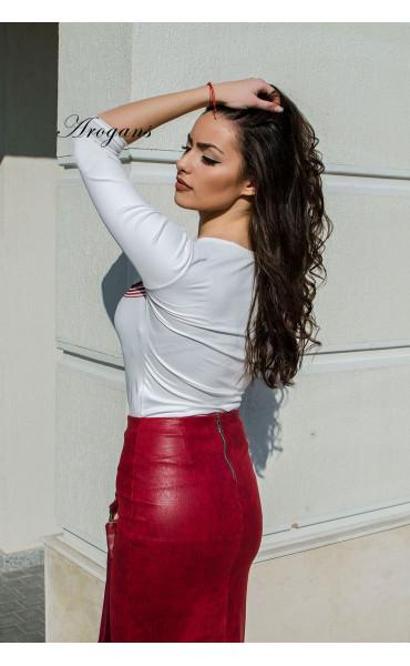 Кожена пола в малиново червен цвят_16958