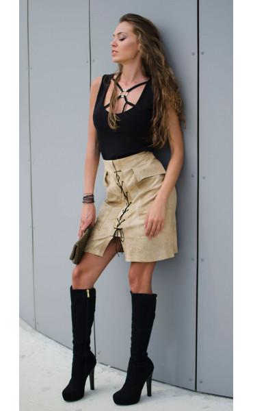 Спортна пола с джобове и кабси_16980