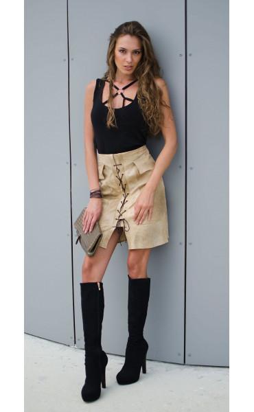 Спортна пола с джобове и кабси_16981