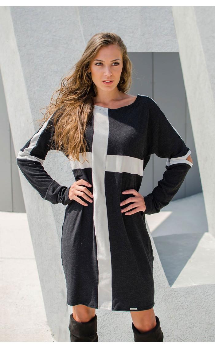 Спортна рокля със сиви акценти  Cross