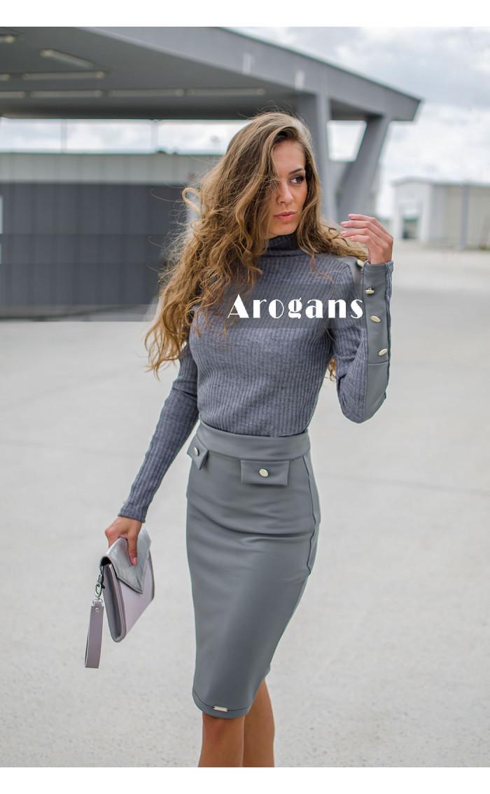 Вталена сива пола с декоративни джобчета Силвия