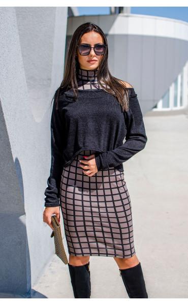 Къса асиметрична блузка от плетиво_17159