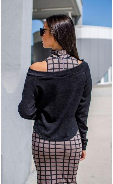Къса асиметрична блузка от плетиво_17160