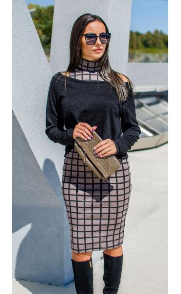 Къса асиметрична блузка от плетиво