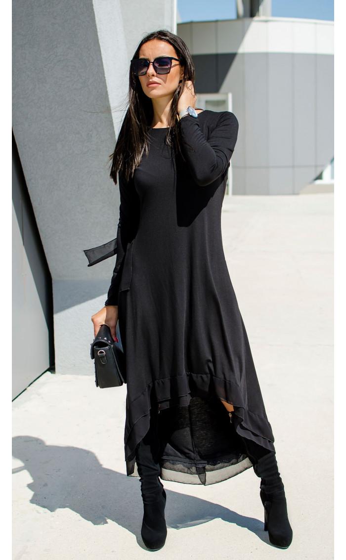 Черна асиметрична рокля със свободен силует Black girl
