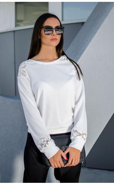 Ежедневна бяла блузка с кожена дантела Адел