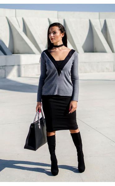 Блуза от рипс плетиво с подвижна яка_17237