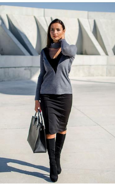 Блуза от рипс плетиво с подвижна яка_17238