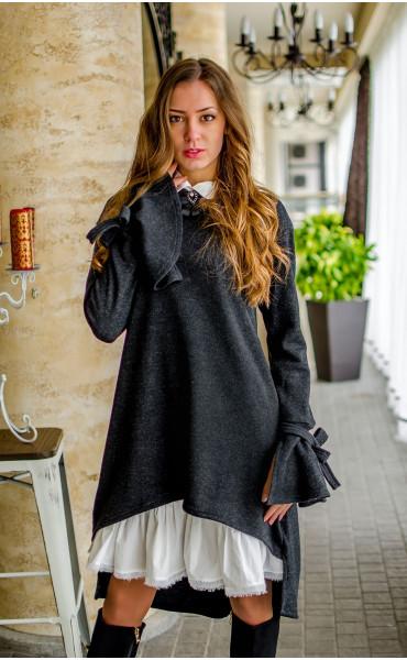 Рокля от плетиво с бяла якичка Виана_17250