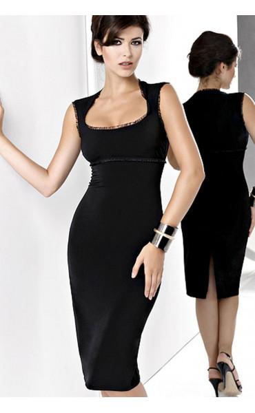 Стилна официална черна рокля Магдалена