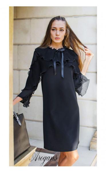 Изискана черна рокля  със солей, шифон и панделка Paris_17261