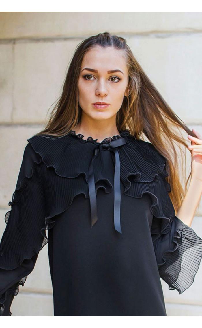 Изискана черна рокля  със солей, шифон и панделка Paris